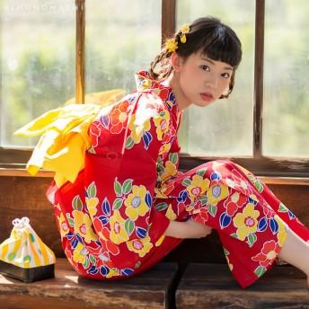 浴衣 - KIMONOMACHI 京都きもの町オリジナル 浴衣単品「赤色 椿」S、フリー、TL、LL レトロ 女性浴衣 花火大会、夏祭り、夏フェスに 大正赤大人かわいい