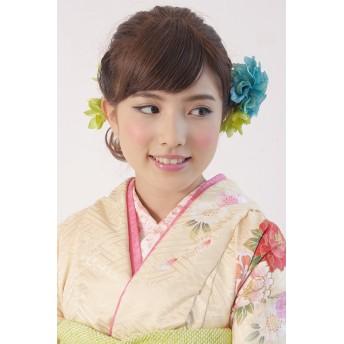 和装小物 - SOUBIEN 髪飾り2点セット 成人式 振袖 浴衣 はかま 花 フラワー 緑 薔薇 ゴールドパール ふりそで ゆかた 髪留め 髪かざり ヘアアクセサリー