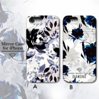 鏡付き ミラー付き iPhoneケース iPhoneXR/XSMAX iPhoneX/Xs iPhone8/7 ケース ICカード収納 ICカード収納 ブラック ぼかし花柄