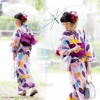 浴衣 - KIMONOMACHI 京都きもの町オリジナル 浴衣単品「パープルリーフ」S、フリー、TL、LL レトロ 女性浴衣 花火大会、夏祭り、夏フェスに紫大人かわいい古典