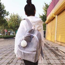 リュック - Decorative 毛糸のポンポンつきがキュートなコーデュロイ生地のリュックサック/バックパック 原宿系 ファッション レディース ゆめかわいい 服 奇抜派手 個性的 ダンス 衣装 コスチューム ヒップホップ 韓国 大きいサイズ 180326