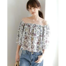 ブラウス - Re: EDIT フェミニンな花柄をお好みで。抜け感たっぷりな大人の肌見せ 花柄オフショルダートップス トップス/カットソー・Tシャツ