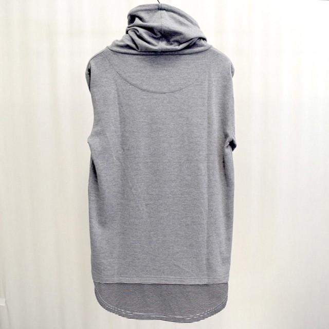 パーカー - Style Block MEN パーカー パーカ プルオーバー ロゴプリント 長袖 重ね着風 スヌード メンズ ホワイト グレー ブラック トップス 秋冬