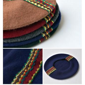 ベレー帽 - nakota ウール ラインベレー 帽子 ベレー帽 ボリューム ふんわり 小物 デザイン 防寒 フェルト 秋 冬 レディース