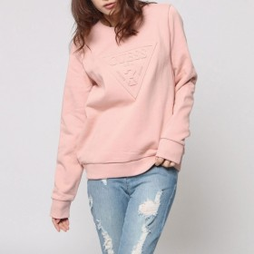 トレーナー - GUESS【WOMEN】 [GUESS] EMBOSS TRIANGLE LOGO L/S CREW SWEAT