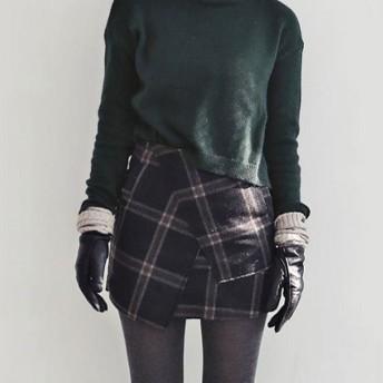 ミニスカート - ANDJ スカート ラップスカート ボトムスチェック柄 ウール調 Aライン 巻きスカート(bt09d02546)