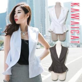 テーラードジャケット - KawaiCat 【C-style】【jk11712】裾フリルデザインで女性らしいシルエットが完成☆裾フレアノースリーブジャケット