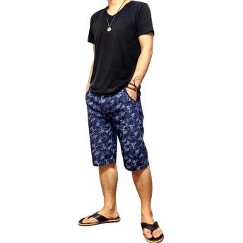 ハーフパンツ - EVERSOUL ハーフパンツ メンズ 五分丈 5分丈 カモフラ 迷彩 ショートパンツ : 爽やかなブルー系カモフラ迷彩柄のハーフパンツ!