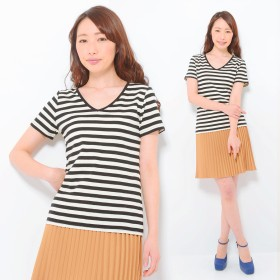 Tシャツ - CLOTHY ■CLOTHY BASIC■コットン100% フライス素材 ボーダー Vネック 半袖 Tシャツ (M/L/LL)