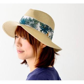 麦わら・ストローハット・カンカン帽 - nakota ボタニカル リボン ツバ広 ハットロングブリムハット 帽子
