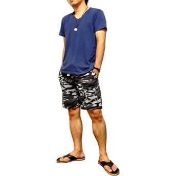ショートパンツ - EVERSOUL ショートパンツ メンズ カモフラ 迷彩 膝丈 膝上 スウェット パンツ