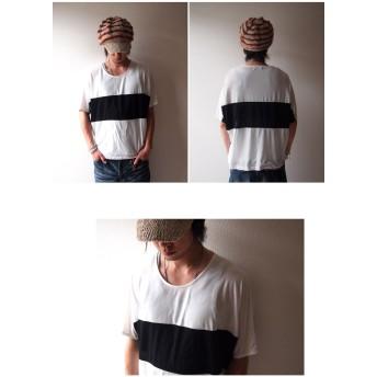 Tシャツ - BEAT JIVE Tシャツ ドルマンスリーブ メンズ カットソー モノトーン バイカラー ツートン