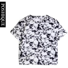 Tシャツ - PRIMACLASSE ユニークなパターン バックオープンデザイン半袖トップ トップス Tシャツ レディース服 ルーズフィット ルーズシルエット 半袖 ラウンドTシャツ ユニーク バックオープン