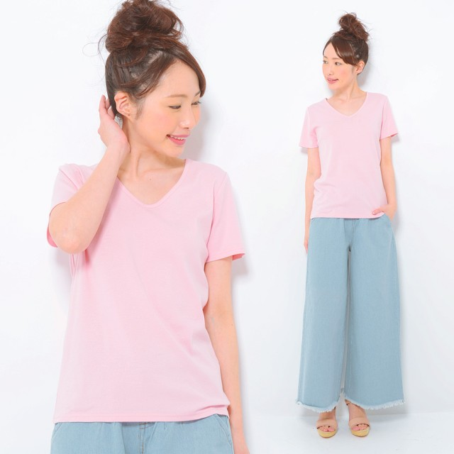 Tシャツ - CLOTHY ■CLOTHY BASIC■コットン100% フライス素材 無地 Vネック 半袖 Tシャツ(S/M/L/LL/3L)