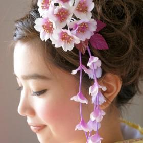 和装小物 - SOUBIEN 髪飾り 赤紫 桜 花 成人式 振袖 卒業式 袴 結婚式 ドレス 着物 和服 和装 髪留め ヘアアクセサリー コーム