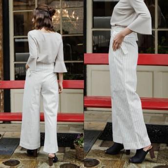 パンツ・ズボン全般 - Re: EDIT クリーンな女性らしさをアピール ピンストライプベルテッドセミワイドパンツ ボトムス/パンツ/パギンス