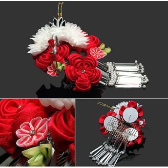 ヘアアクセサリー全般 - KIMONOMACHI つまみ細工髪飾り つまみ髪飾り「赤色のお花、翔鶴」 前撮り 日本髪 舞妓 05P05Nov16