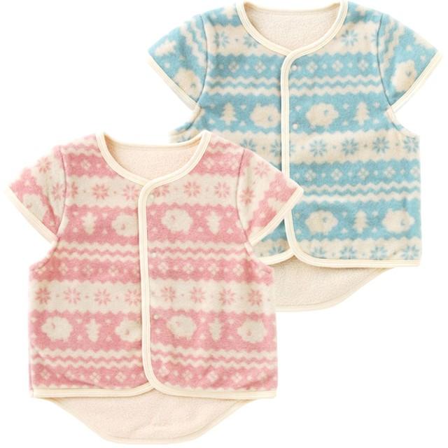 1f838c41fd03f ベビートップス - chuckleBABY 北欧風プリント袖付きフリースベスト赤ちゃん 服 ベビー服 アウター ベスト