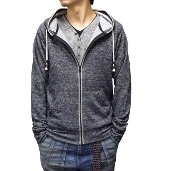 パーカー - Style Block MEN パーカー フルジップパーカー ジップアップ フーディー 長袖 裏毛 杢柄 メンズ ブラック ネイビー グレー 秋冬