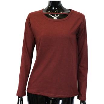 カットソー - CELL デコルテデザインカットトップス 長袖 Tシャツ カットソー チョーカーTシャツ シンプル インナー ベーシック