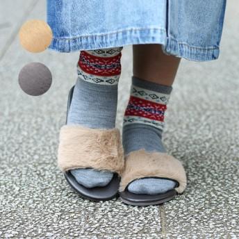 サンダル - チチカカ 靴 スニーカー 厚底 チチカカ フェイクファーサンダル zgwjca9093 レディース