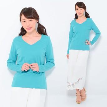 Tシャツ - CLOTHY ■CLOTHY BASIC■ コットン100% フライス素材 無地 Vネック 長袖 Tシャツ (S/M/L/LL/3L)