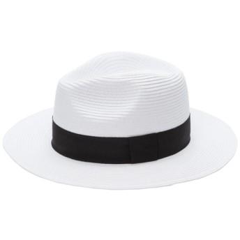 ハット - 夢展望 帽子 麦わら帽子 ペーパーハット つば広 中折れ 夏 ハット リボン UV対策 ホワイト ベージュ ダークベージュ 白 フリーサイズ F レディース 夢展望