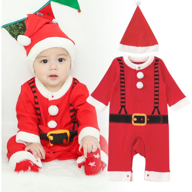 d8a5b7175cff8 べビーロンパース・カバーオール - chuckleBABY 帽子付きサンタさんカバーオールベビー服 赤ちゃん 服 男の子