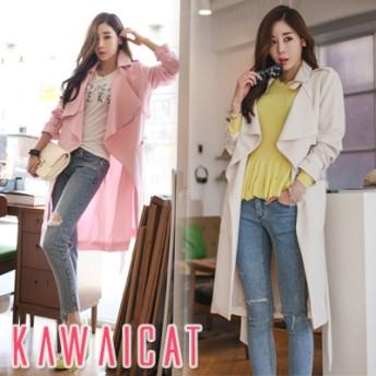 テーラードジャケット - KawaiCat 【jk11113】大きめカラーですっきりとした印象をプラス☆ヌケ感のあるシルエットがポイントとなったソフトトレンチコート/春先行