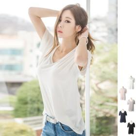 Tシャツ - KawaiCat 【ts16539】ルーズなフィット感で着心地が良いアイテム♪ベーシックデザインUネック半袖Tシャツ