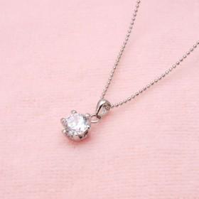 ネックレス - barzaz ネックレス 一粒ネックレス 立爪 6本爪 首飾り プレゼント 女性用 一粒 輝く キラキラ シルバー 銀色 アクセサリーペンダント上品 エレガント ラウンドブリリアントカット 2.0Ct elegant ladies necklacesilverac