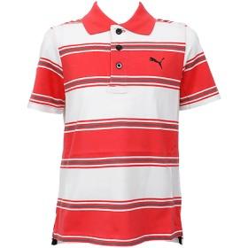 ポロシャツ - BIRIGO プーマ キッズ カジュアル ボーダー ポロシャツ PUMA 819470 半袖 シャツ ストライプ レッド コットン100%やや透け感あり レッド おしゃれ かっこいい 男の子 女の子 スポーツ 運動