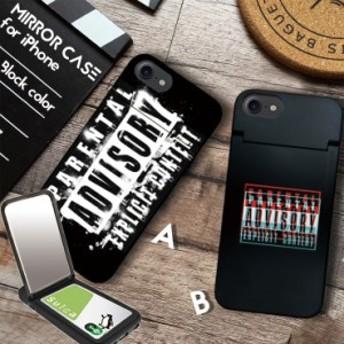 鏡付き ミラー付き iPhoneケース iPhoneXR/XSMAX iPhoneX/Xs iPhone8/7 ケース ICカード収納 ブラック ペアレンタルアドバイザリー