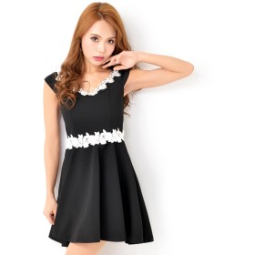 940b0304d448e ドレス - Dazzy ドレス キャバ ワンピース 大きいサイズ SMLサイズ flower切り替えオフショルAラインミニ
