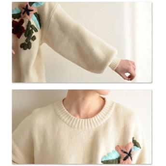ニット・セーター - Sawa a la mode ぷっくり花刺繍のニットトップス。レディース ファッション トップス ニット ホワイト 花 刺繍 ぽわん袖 フリーサイズ M L LLMサイズ Lサイズ LLサイズ 9号 11号 13号 15号 サワアラモード Sawa a la