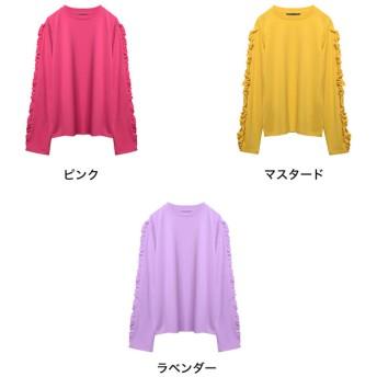 Tシャツ - Re: EDIT 立体的なフリルで大人の甘さが引き立つトップス フリルスリーブ長袖カットソートップス トップス/カットソー・Tシャツ