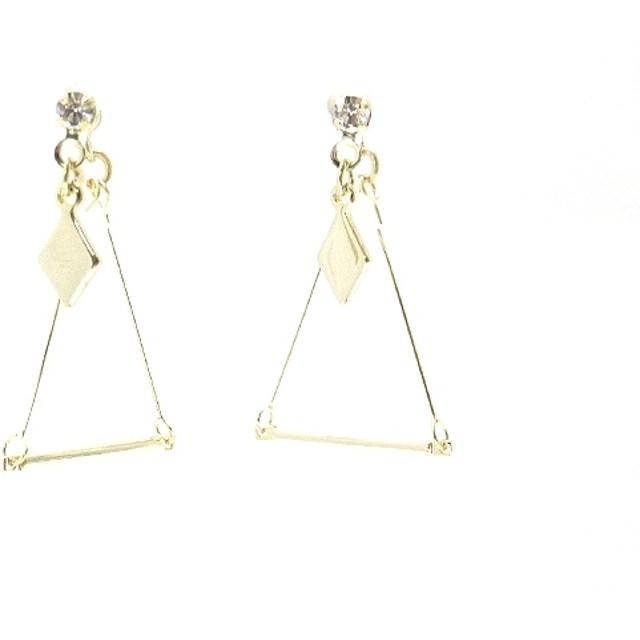 イヤリング - LECOEURROSE 【樹脂製】ダイヤとトライアングルブランコのノンホールピアス【イヤリング】【イアリング】