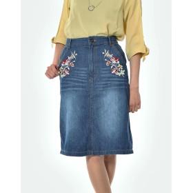 ひざ丈スカート - s.i.p 8ozデニムミディ丈刺繍スカート