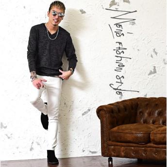 Tシャツ - JOKER VネックTシャツ メンズ 長袖Tシャツ 長袖 ロンt 無地 Vネック ニットソー カットソー 冬 冬服 冬物 メンズファッションインナー ユニセックス お兄系 オシャレ サーフ系 オラオラ系 BITTER ビター系 JOKER ジョーカー