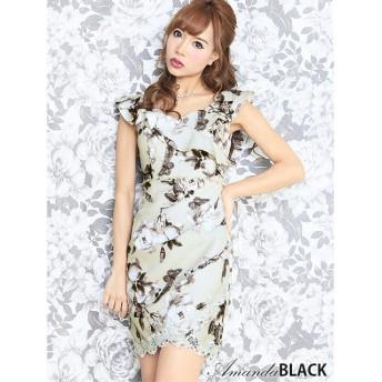 Royal Cheaper amanda BLACK アマンダブラック 袖付きクラシック花柄ミニドレス