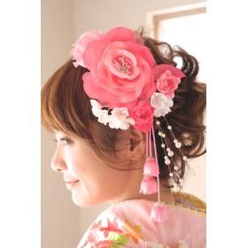 和装小物 - SOUBIEN 髪飾り 2点セット 成人式 振袖 卒業式 袴 はかま ピンク 花 フラワー パールビーズ ブラ ヘアアクセサリー ふりそで 髪留め 髪かざり 振り袖