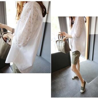 ブラウス - Miniministore 花柄透かし刺繍 ブラウス レディース 長袖 ロングシャツ 白 ゆったり トップス 春夏 人気