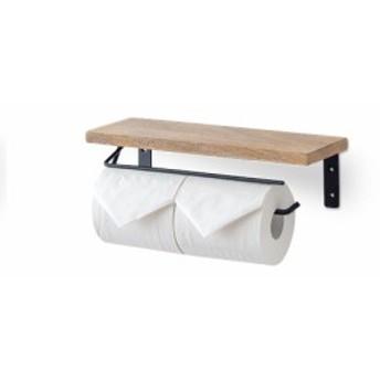 トイレットペーパーホルダー M アイアン マンゴーウッド W31 D11 H9cm   トイレットペーパー ホルダー トイレ ペーパー 交換簡単 棚板 木