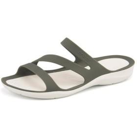 レディース crocs(クロックス) SWIFTWATER SANDAL W(スウィフトウォーターサンダル) 203998 06X スモーク/ホワイト ローヒール(-3.5cm)