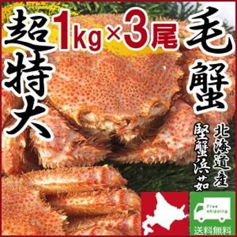 毛ガニ 毛蟹 カニ 蟹 姿  特大 北海道産 ボイル 毛がに 毛蟹 1kg×3尾 かに けがに ギフト プレゼント 送料無料 お買い得 かにみそ