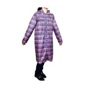 Aness (アネス) レインコート 選べる2タイプ 総柄 巾着ポーチ付き レインウェア 雨具 #n425 (レインコートxパープル)