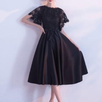 ワンピース ミモレ丈 ドレス ブラック 花柄レース リボンベルト 半袖 フレア お呼ばれ パーティー 上品 お呼ばれ drgz0751