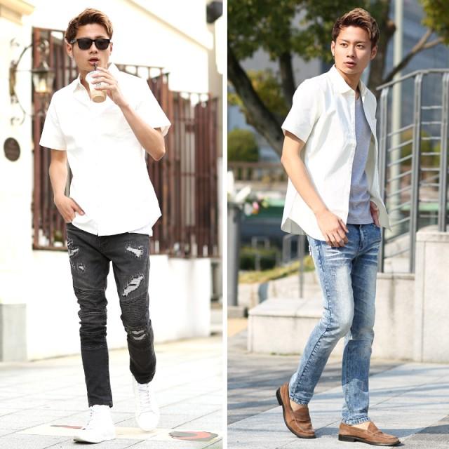 5a2ff2873fa シャツ - improves メンズファッション 半袖オックスフォードストレッチシャツ( トップス シャツ メンズ ) 半袖シャツ