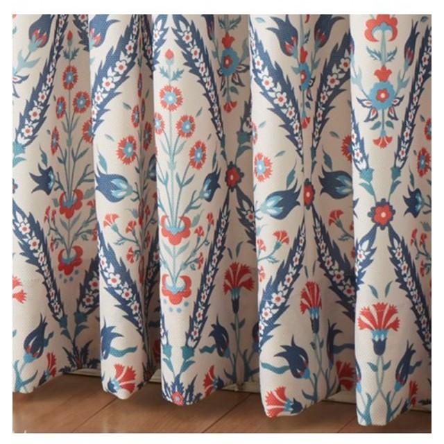 【1cm単位オーダー】ブーケタイル柄。形態安定カーテン(1枚) ドレープカーテン(遮光あり・なし)