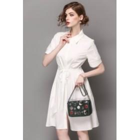 ミディアムスリムなハイウエスト白シャツドレス